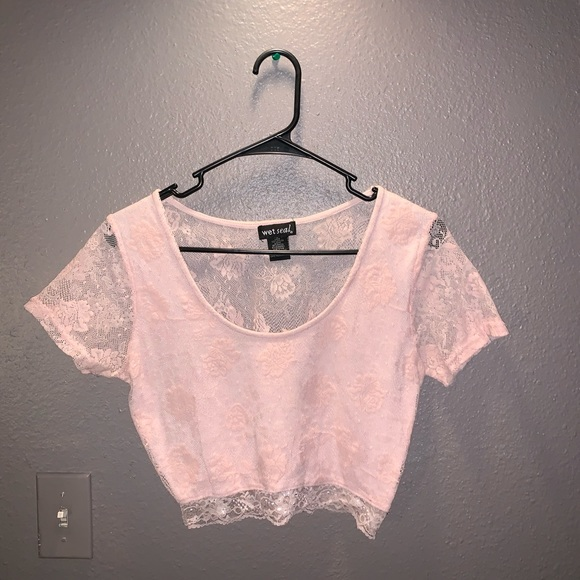 Wet Seal Tops - Pink lace crop top by Wet Seal